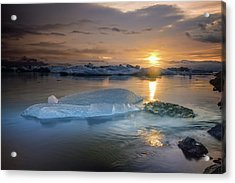 Sunset Over Glacier Bay In Iceland Acrylic Print