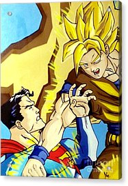 Super Man Vs Goku Acrylic Print by Jin Kai
