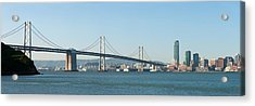 Suspension Bridge Across A Bay, Bay Acrylic Print by Panoramic Images