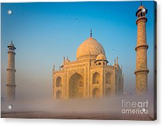 Taj Mahal In The Mist Acrylic Print by Inge Johnsson
