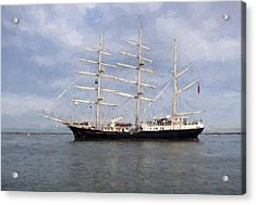 Tall Ship At Anchor Acrylic Print by Colin Porteous