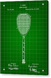 Tennis Racket Patent 1887 - Green Acrylic Print by Stephen Younts