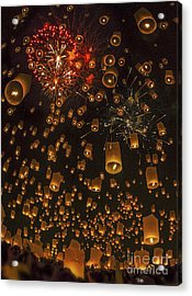 Thai People Floating Lamp Acrylic Print by Anek Suwannaphoom