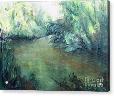The Creek At Dawn Acrylic Print by Mary Lynne Powers