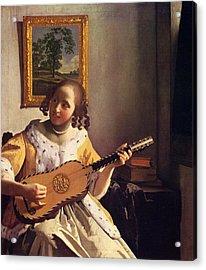 The Guitar Player Acrylic Print by Johannes Vermeer