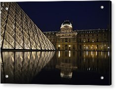 The Louvre Palace And The Pyramid At Night Acrylic Print