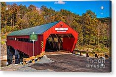 The Rebuilt Taftsville Covered Bridge. Acrylic Print by New England Photography