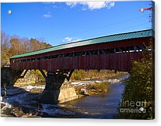 The Taftsville Covered Bridge. Acrylic Print by Stan Amster