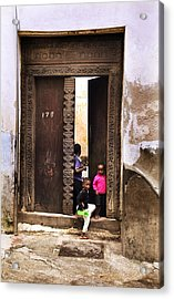 Acrylic Print featuring the photograph Kids Playing Zanzibar Unguja Doorway by Amyn Nasser