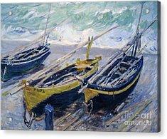 Three Fishing Boats Acrylic Print by Claude Monet