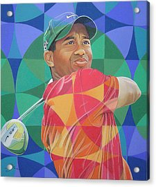 Acrylic Print featuring the drawing Tiger Woods by Joshua Morton
