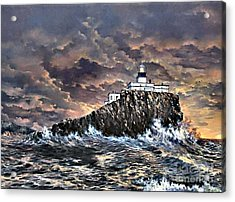 Acrylic Print featuring the painting Tillamook Rock Light by Lynne Wright