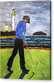 Tom Watson Turnberry 2009 Acrylic Print by Lesley Giles