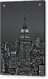 Top Of The Rock Bw Acrylic Print by Susan Candelario