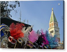 Traditional Venetian Masks With Feathers  Acrylic Print by Sami Sarkis