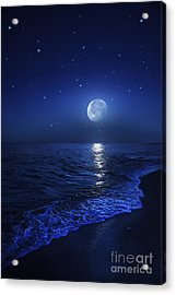 Tranquil Ocean At Night Against Starry Acrylic Print by Evgeny Kuklev