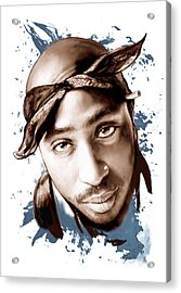 Tupac Shakur Colour Drawing Art Poster Acrylic Print by Kim Wang