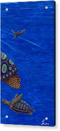 Turtle Painting Bomber Triptych 3 Acrylic Print