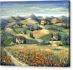 Tuscan Villa And Poppies Acrylic Print