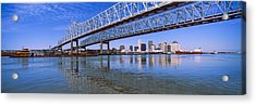 Twins Bridge Over A River, Crescent Acrylic Print by Panoramic Images