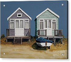 Two Beach Huts And Boat Acrylic Print by Linda Monk