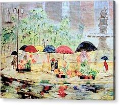 Umbrellas And Flowers   Acrylic Print by Rick Todaro