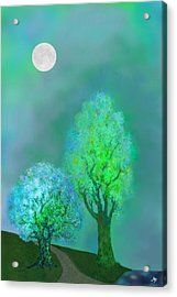 unbordered DREAM TREES AT TWILIGHT Acrylic Print by Mathilde Vhargon