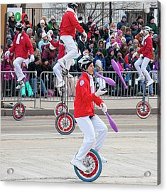 Unicyclists At A Parade Acrylic Print