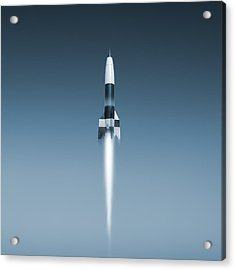 V-2 Rocket Launch, Artwork Acrylic Print by Science Photo Library