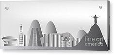 vector Rio de Janeiro skyline Acrylic Print by Michal Boubin