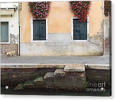 Venice Canal Shutters With Dog And Flowers Horizontal Acrylic Print