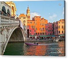 Venice Rialto Bridge Acrylic Print by Heiko Koehrer-Wagner