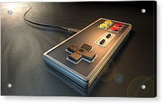 Vintage Gaming Controller Acrylic Print by Allan Swart