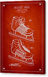 Vintage Hockey Shoe Patent Drawing From 1935 Acrylic Print