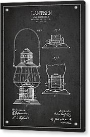 Vintage Lantern Patent Drawing From 1887 Acrylic Print