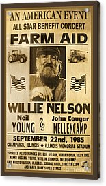Vintage Willie Nelson 1985 Farm Aid Poster Acrylic Print by John Stephens