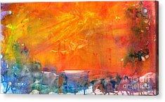 Wagon Train At Sunset Acrylic Print