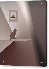 Acrylic Print featuring the digital art Waiting For Aimee. by Andrew Penman