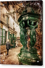 Acrylic Print featuring the photograph Wallace Fountain By Shakespeare And Co / Paris by Barry O Carroll