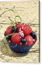 Watermelon Blueberry And Goatcheese Acrylic Print by Iris Richardson