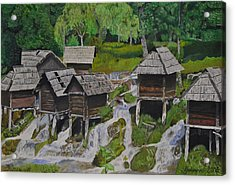 Watermill On Pliva Acrylic Print by Ferid Jasarevic