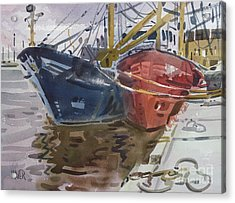 Acrylic Print featuring the painting Wexford Fishing Boats by Donald Maier