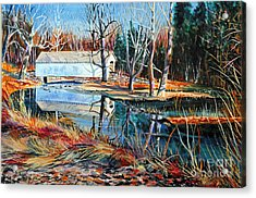 White Covered Bridge Acrylic Print by Doug Heavlow