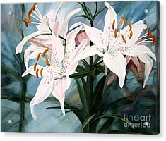 White Lilies Acrylic Print by Laurie Rohner