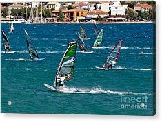 Windsurfing In Vasiliki Bay Acrylic Print