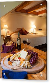 Wine And Cheese In A Luxurious Hotel Room. Acrylic Print