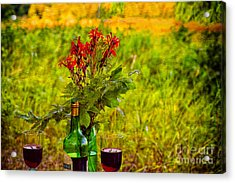 Wine And Flowers Acrylic Print by Les Palenik