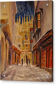 Acrylic Print featuring the painting Winter In Canterbury by Beatrice Cloake