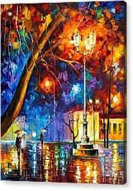 Winter Rain Acrylic Print by Leonid Afremov