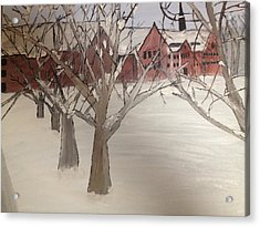 Acrylic Print featuring the painting Winter University by Paula Brown